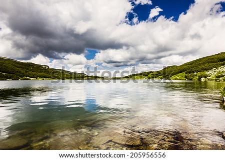 Beautiful alpine landscape with Calcescu lake in Parang  mountains,Romania - stock photo