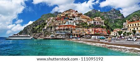 beautiful Amalfi coast - Positano town - stock photo