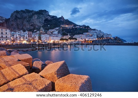 Beautiful Amalfi village at twilight in Campania, Italy. - stock photo