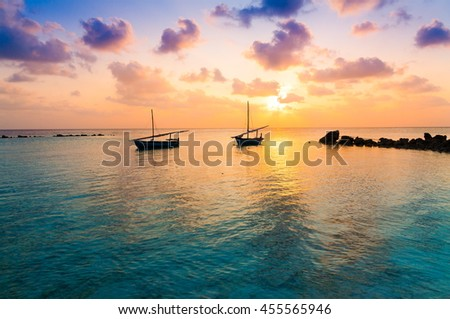 Beautiful amazing nature background. Tropical blue sun sea. Luxury holiday resort. Island atoll about coral reef. Fresh  freedom. Adventure sunset. Snorkeling. Coconut paradise. Beauty boat. - stock photo