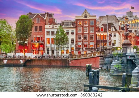Beautiful Amsterdam city at the evening time. Netherlands - stock photo