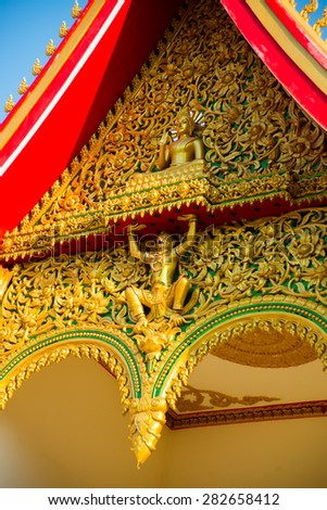 Beautiful ancient Buddhist religious knowledge, a fragment of the temple - stock photo