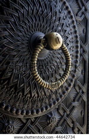 beautiful ancient door lock - stock photo