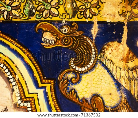 beautiful ancient Hindu God Painted on wall in Sri Ranganathaswamy Temple. Tiruchirappalli (Trichy), Tamil Nadu, India