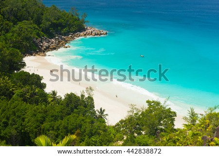 Beautiful and a famous beach Anse Georgette from above, Praslin island, Seychelles - stock photo