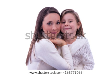 beautiful and cheerful the woman with the child were photographed on a white background