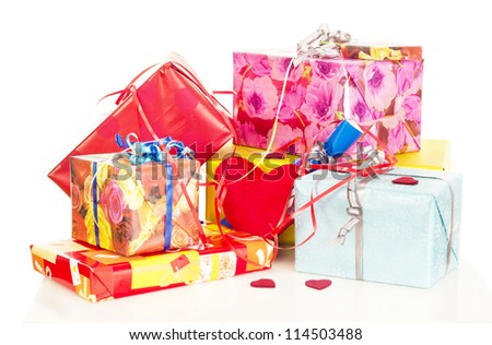Beautiful and colorful gifts on the table