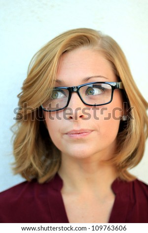 Beautiful and Confident Business Woman Wearing Eye Glasses - stock photo