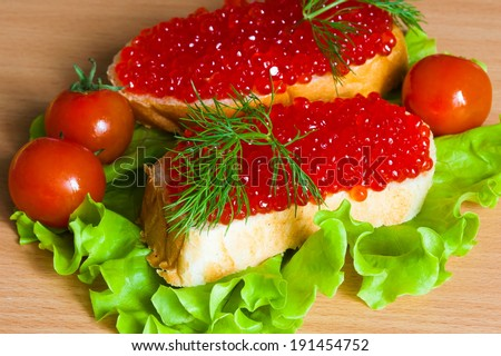 beautiful  and  delicious  sandwich with red caviar