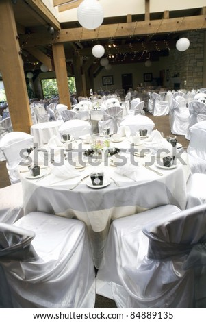 beautiful and elegant table settings for wedding  - interior - stock photo