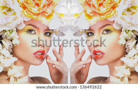 Beautiful and fashion woman with flower wreath