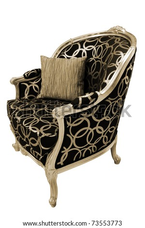 Beautiful and fashionable armchair on a white background - stock photo
