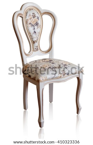Beautiful and fashionable, Vintage Wooden chair. on a white background. object furniture in classic style. white tree with gold trim. patina. carving. luxury furniture. use in design