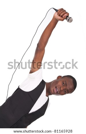 beautiful and handsome black man singing - stock photo