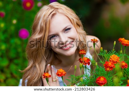 beautiful and happy bride in wonderful  nature - stock photo