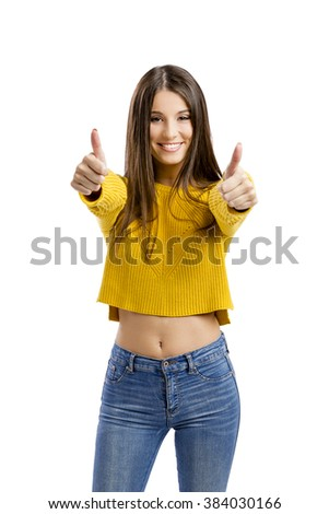 Beautiful and happy woman with thumbs up, isolated over white background  - stock photo