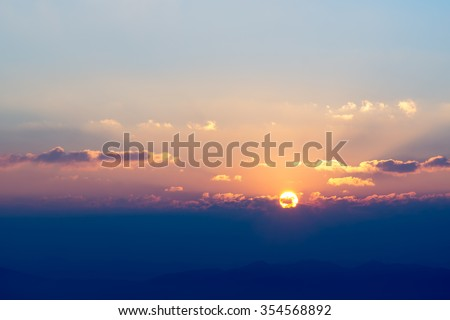 beautiful and heavenly sunrise in the mountains landscape, Northern of Thailand - stock photo