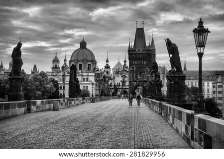 beautiful and historic Charles Bridge in Prague, Czech Republic - stock photo