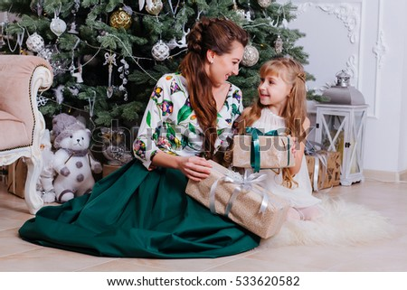 Young Pregnant Mother Her Little Daughter Stock Photo