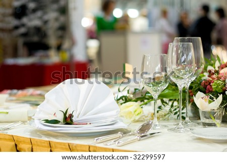 Beautiful and Luxurious Wedding Table Setting - stock photo