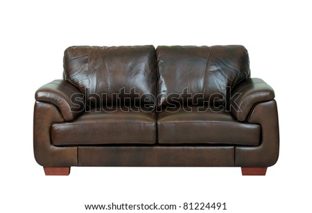 Beautiful and luxury of the dark brown leather bench isolated on white - stock photo