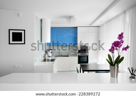 beautiful and model interior of bright kitchen - stock photo
