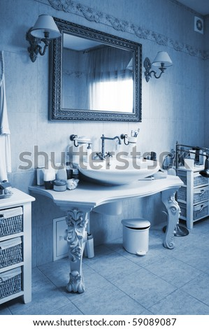Beautiful and modern bathroom in an apartment - stock photo