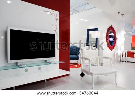 Beautiful and modern furniture in furniture store - stock photo