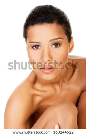 Beautiful and naked women. Face closeup. Isolated on white.