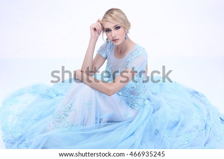 Beautiful Nice Lady Blonde Hair Snow Stock Photo 466935245 ...