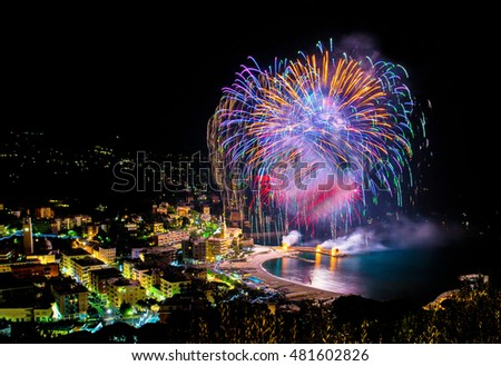 Beautiful and pyrotechnic fireworks in Recco, Italy / Fireworks in Recco, Genoa, Italy