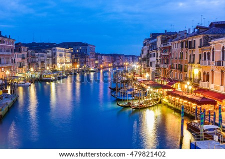Beautiful and romantic view over traditional architecture among the Grand canal in Rialto area, in Venice city, Italy