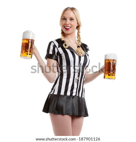 Beautiful and sexy woman in soccer style with a big glass of beer in her hands ready to party - stock photo