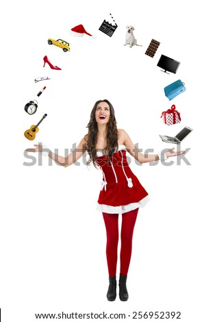 Beautiful and sexy woman wearing santa clause costume with arms open  - stock photo