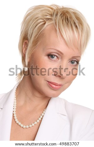 beautiful and smiling business woman - stock photo