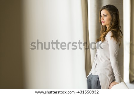 Beautiful and successful brunette  wife with gorgeous hair posing in front of a window - stock photo