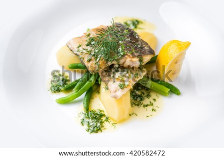 beautiful and tasty food on a plate - stock photo