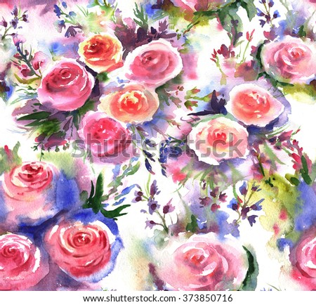 Beautiful and tender, romantic watercolor seamless pattern with roses bouquets. Floral hand-drawn repeated print with pink roses and different flowers for the textile, wallpapers etc. - stock photo