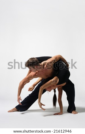 beautiful and very stylish dancer is posing - stock photo