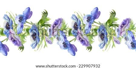Beautiful Anemone blue  flower Garland. Watercolor.  - stock photo