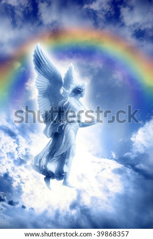 beautiful angel over sky with divine rays of light and divine rainbow - stock photo