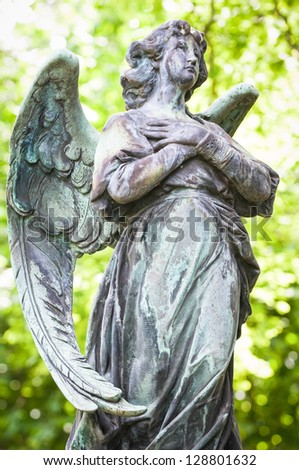 beautiful antique angel - close up - stock photo