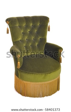 beautiful antique armchair isolated on white background - stock photo