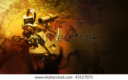 beautiful antique brass sextant shot on navigational map with space for copy