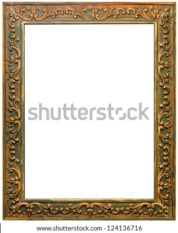 Beautiful antique carved frame isolated on white background - stock photo