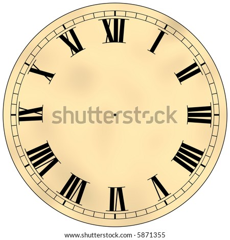 Beautiful antique clock face isolated on white - stock photo
