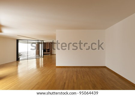 beautiful apartment, interior, big empty room - stock photo