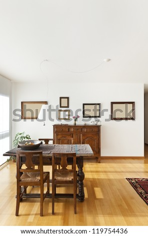 beautiful apartment interior, ethnic furniture - stock photo