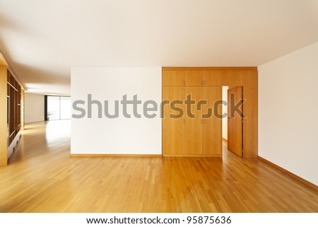 beautiful apartment, interior hardwood floors, closet - stock photo