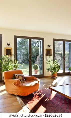 beautiful apartment, interior, living room - stock photo
